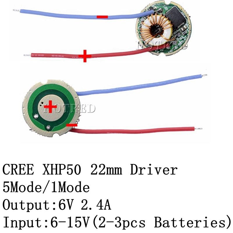 1PCS Cree XLamp XHP50 XHP50.2 6V LED Driver 22MM DC7V-15V Input 2400mA Output 5Mode /1Mode/3Mode For XHP50 LED Light Lamp