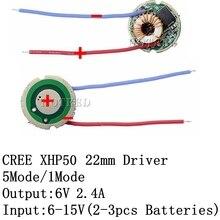 Driver xlamp cree xhp50 xhp50.2 6v, 1 peça, entrada DC7V 15V, saída 2400ma, 5 modos/1 modo/3 modos para xhp50 lâmpada de luz led