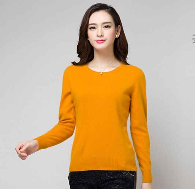 2019 Cashmere Sweater Women Sweaters And Pullovers Women Fashion O-Neck Solid Color Long Sleeve Knitted Sweater Free shipping