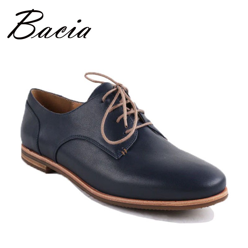 Bacia Genuine Leather Womens Flat Shoes High Quality Handmade Casual Lace-up Soft Leather Free Style Shoes Russion Size VC007 free shipping brand simple style genuine leather womens casual jackets plus size soft sheepskin jacket sales slim clothing