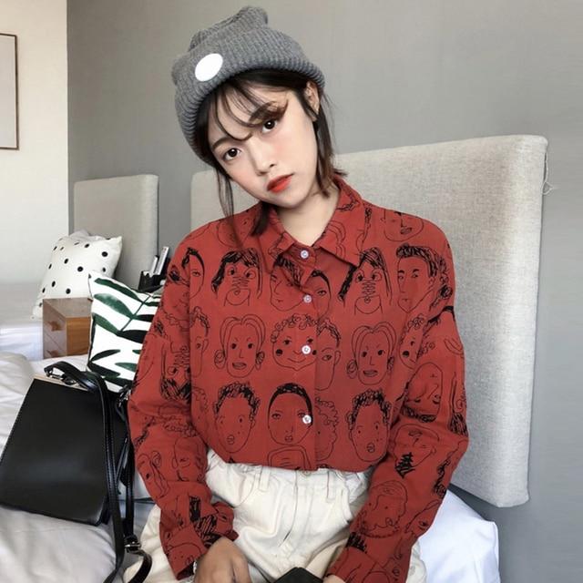 2018 Korean Street Fashion Women Shirts Japanese Harajuku Vintage Cartoon Print Leisure Blouses Funny Graphic Loose Female Tops 2