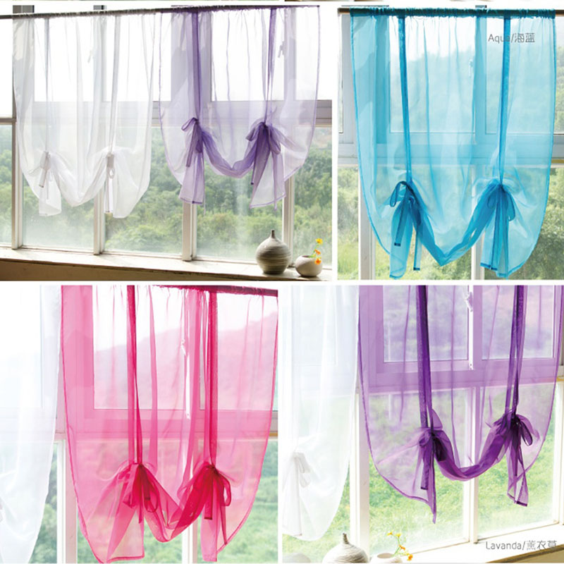 Kitchen Partition Curtains: Modern Solid Color Short Curtain Macaron Kitchen Short