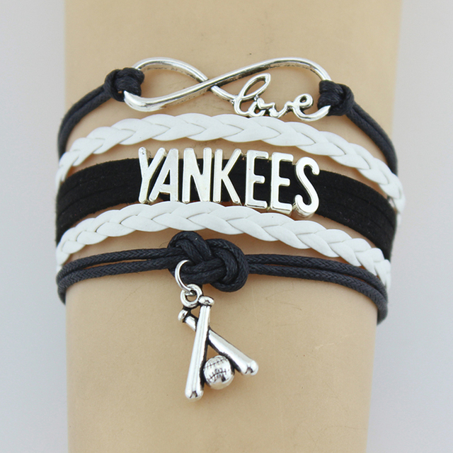 Drop Shipping Infinity Love Yankees Baseball Bracelet Handmade Sports Team Custom Any Themes