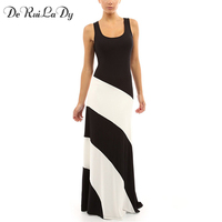 DeRuiLaDy Women Maxi Dress Round Neck Stitching Sleeveless Striped Bodycon Dresses Casual Beach Party Sexy Long