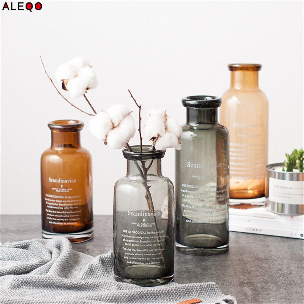 Scandinavian Nordic Chic European Glass Gray Storage Jar Bottle Minimalist Desk Storage Bottle Organizer Flower Container Decor