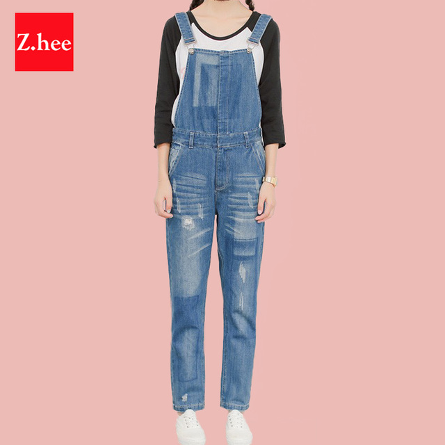 Casual Patch Holes Elastic Waistband Straps Jeans Rompers Womens Jeans Jumpsuit Female Denim Overalls For Jumpsuits And Rompers