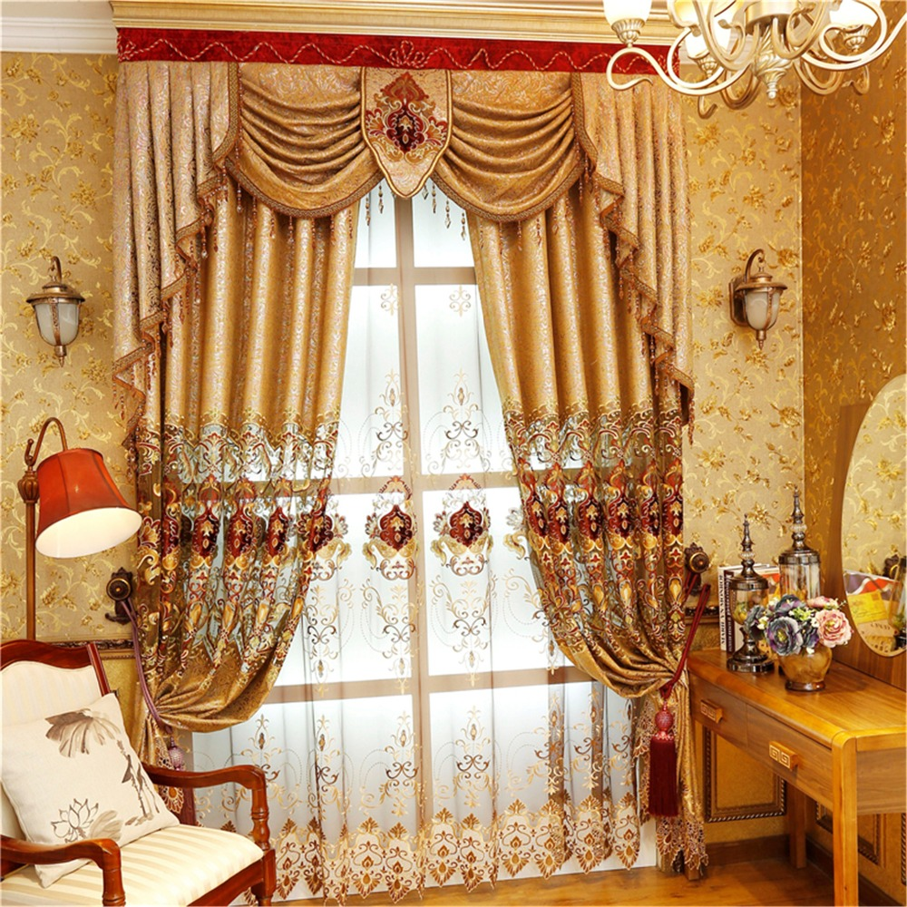 Купить с кэшбэком European and American Style Royal Gold Luxury curtains for Living Room window curtain Bedroom Window curtain kitchen/Hotel