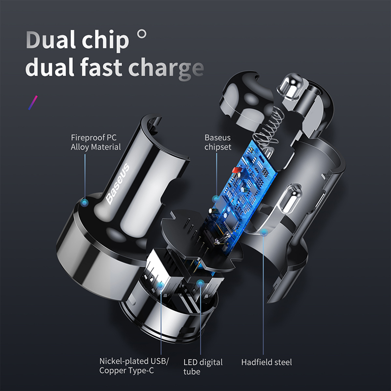 Image 5 - Baseus 45w Quick Charge 4.0 3.0 USB Car Charger For iPhone 11 Pro Max Xiaomi Samsung QC4.0 QC3.0 QC Type C PD Car Fast Charger-in Car Chargers from Cellphones & Telecommunications