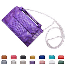 Luxury Cowhide Leather Bag Shoulder Cross-body Bag Candy color Small Crocodile Pattern Genuine Leather Clutch Chain Women's
