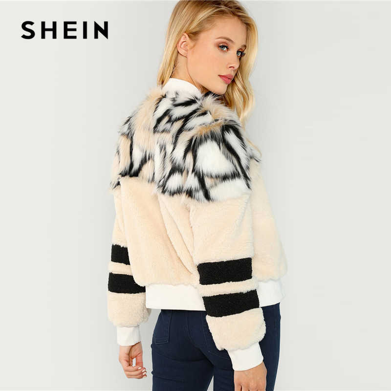 9c92b30b31 ... SHEIN Multicolor O-Ring Zip Up Faux Fur Coat Casual Stand Collar Long  Sleeve Highstreet ...