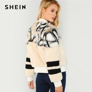 Image 3 - SHEIN Renkli O Ring Zip Up Faux Kürk Ceket Rahat Standı Yaka Uzun Kollu Highstreet Giyim Kadın Kış Kısa mont
