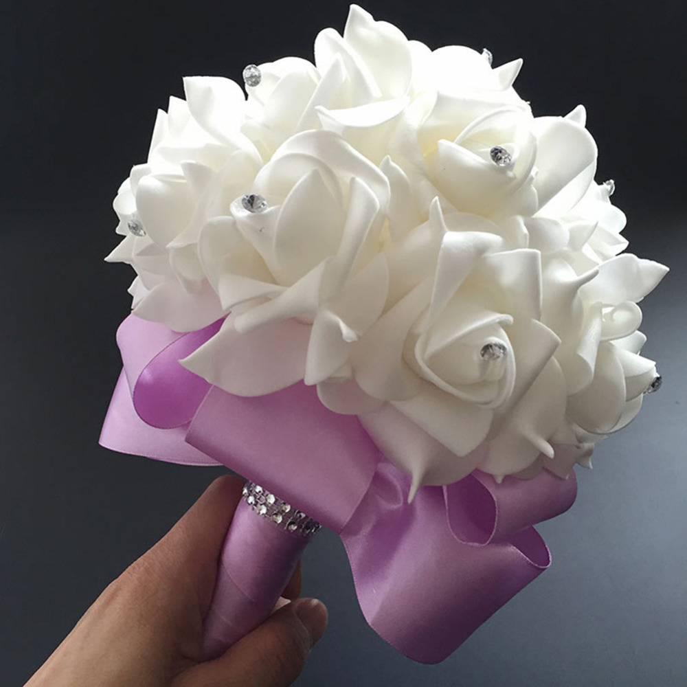 Wedding Flower Bouquet White Rose Crystal Bouquet Bride Bridesmaid ...