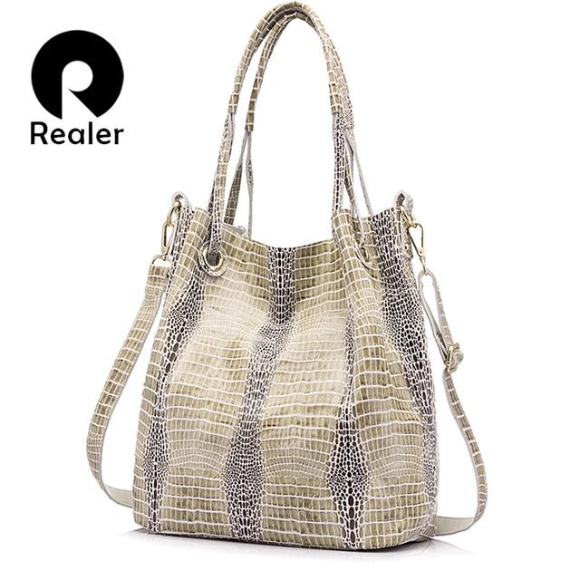 Realer Women Genuine Leather Handbag Extra Large Capacity Shoulder Messenger Bags Las Crossbody Bag Female