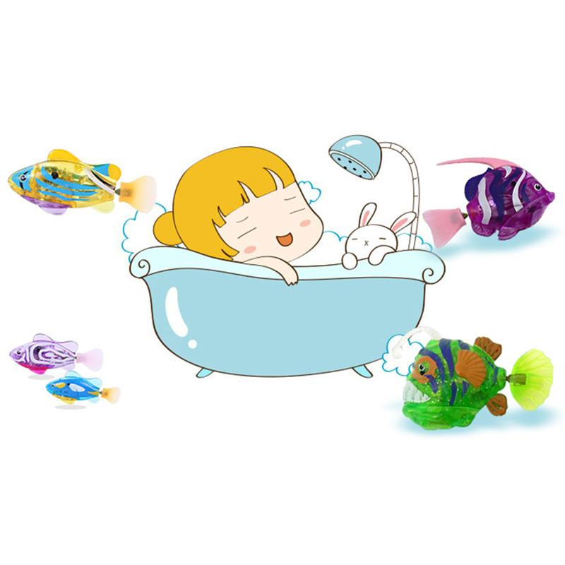 Funny Baby Bath Fish Toys Underwater World Simulation Water Electronic Floating Light Up Robot Fishes For Toddler Time In From