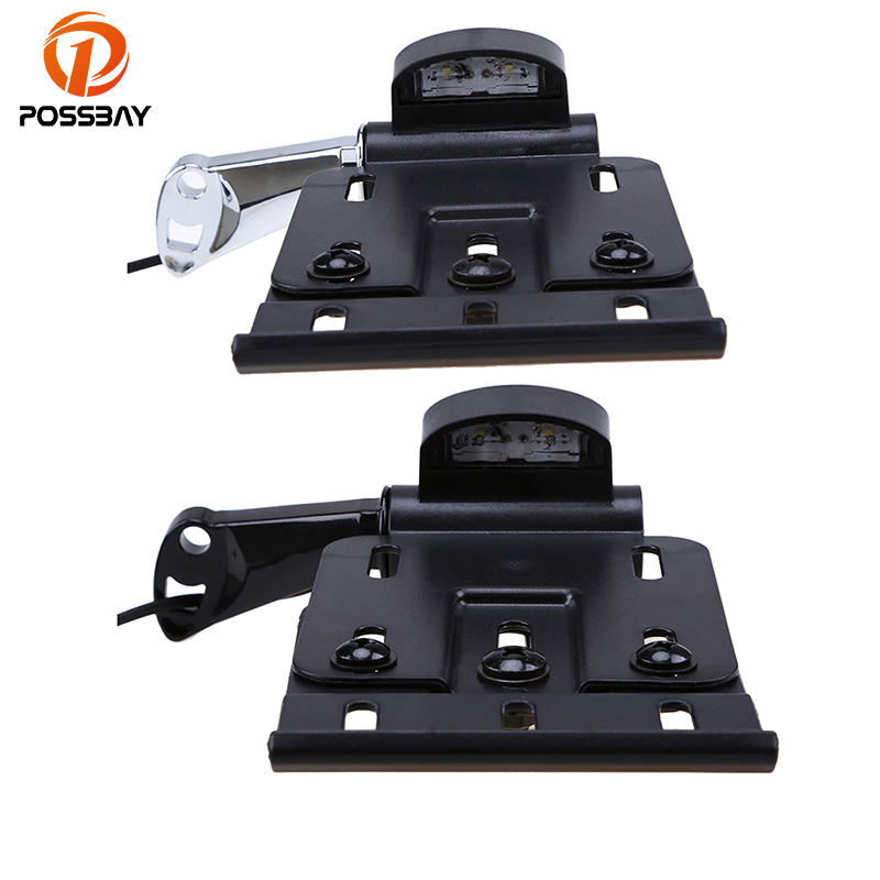 POSSBAY 8mm Motorcycle Side Mount LED License Plate Lights Brackets Cafe Racer For Harley Sportster XL883 XL1200 2004-2016 motorcycle cnc aluminum headlight grill cover for harley sportster xl883 xl1200 2004 2014