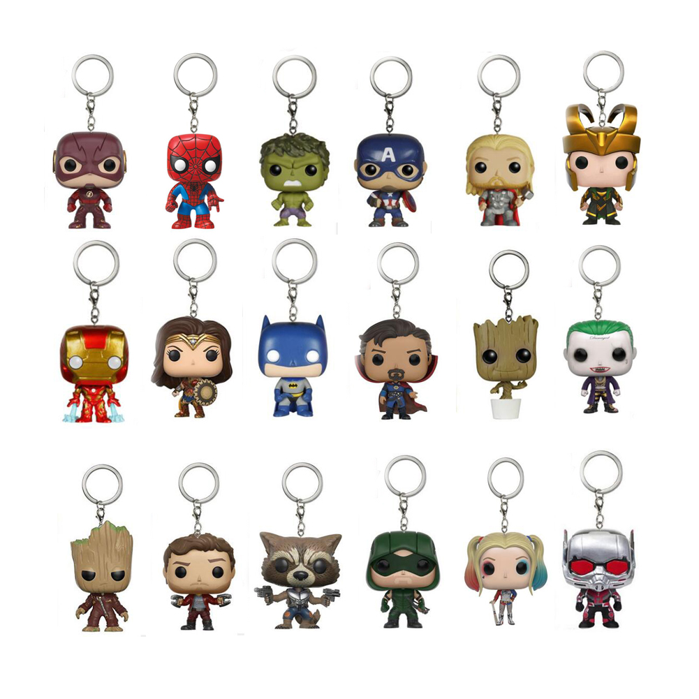 DC & Marvel Anime Cartoon Super Hero Character Avengers Keychain Figure Collection Model Toys Key Chain with Retail Box new hot 17cm avengers thor action figure toys collection christmas gift doll with box j h a c g