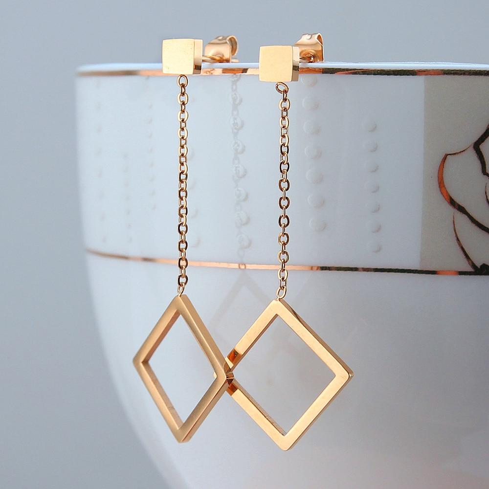 2019 Koreaanse oorbellen hoogglansroze goud roestvrij staal oorknopjes lang voor vrouwen luxe partij bruiloft oorbellen sieraden