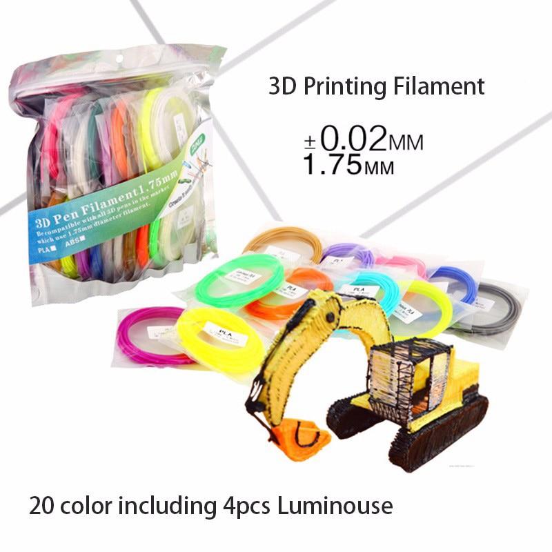 PLA SUNLU 3D Pen printing Filament 20 Colours including 4 Luminouse Light 3D Printer Filaments Consumables