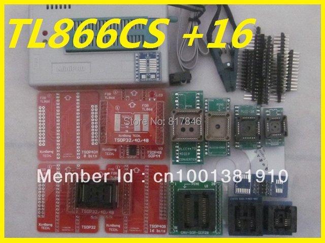 Free Shipping V6.5 MiniPro TL866CS  PIC AVR EEPROM High Speed USB Universal Programmer+15 adapters+SOIC8 Clip