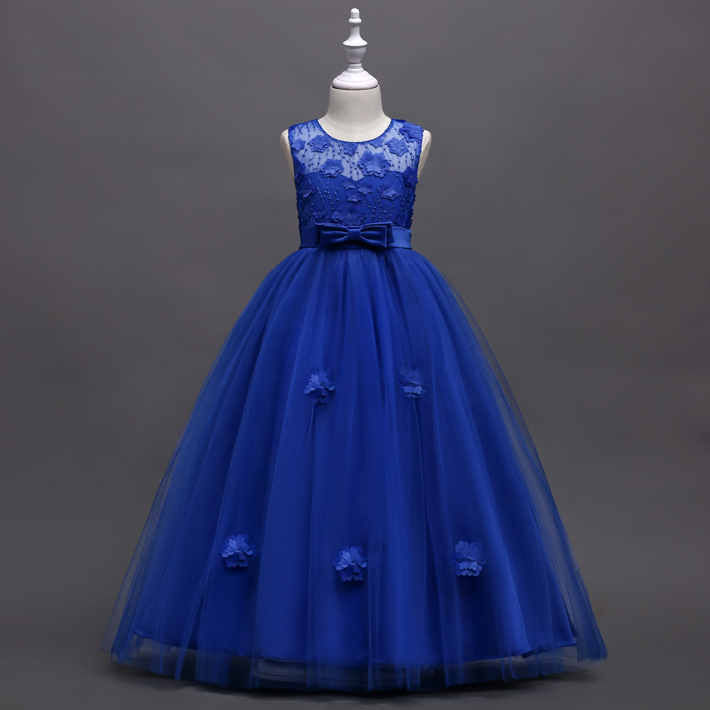 Kids Girls Dress Children Clothes Lace Bow Flower Girl Floor Length Birthday Wedding Party Stage Performance SHOW Dresses S9000Kids Girls Dress Children Clothes Lace Bow Flower Girl Floor Length Birthday Wedding Party Stage Performance SHOW Dresses S9000