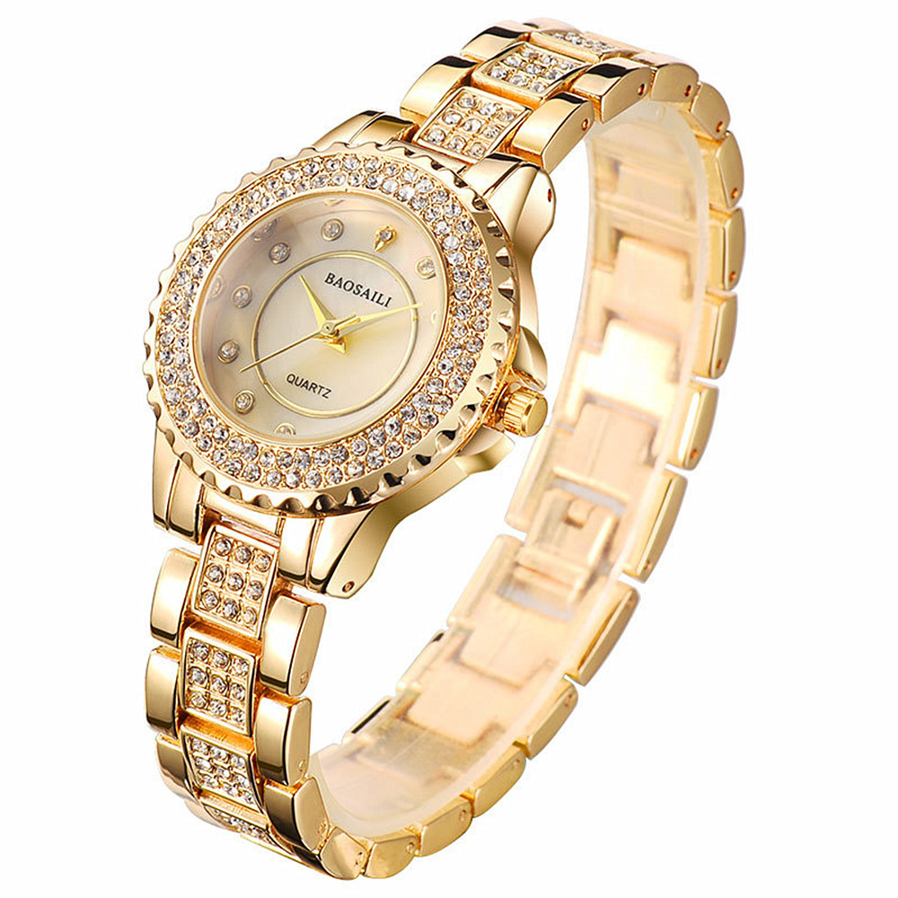Women Diamond gold watch quartz Business women watches top brand luxury wrist watch ladies Steel female reloj mujer clock(China)