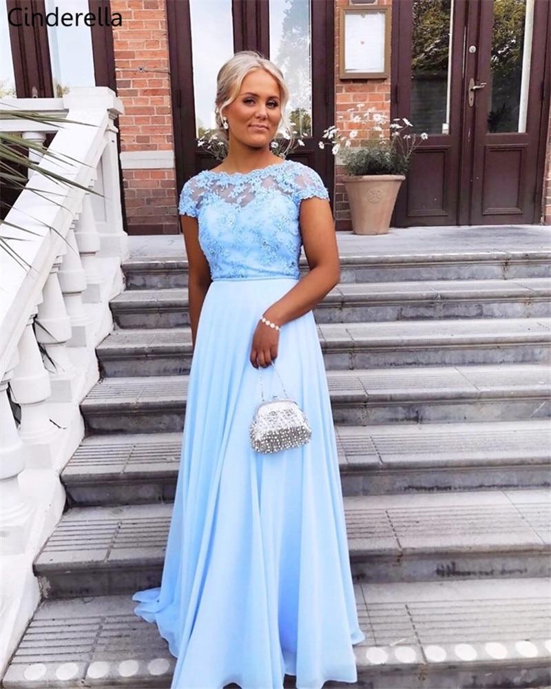 Cinderella Baby Blue Cap Sleeves A-Line Lace Applique Chiffon Bridesmaid Dresses Cheap Floor Length Chiffon Bridesmaid Dresses
