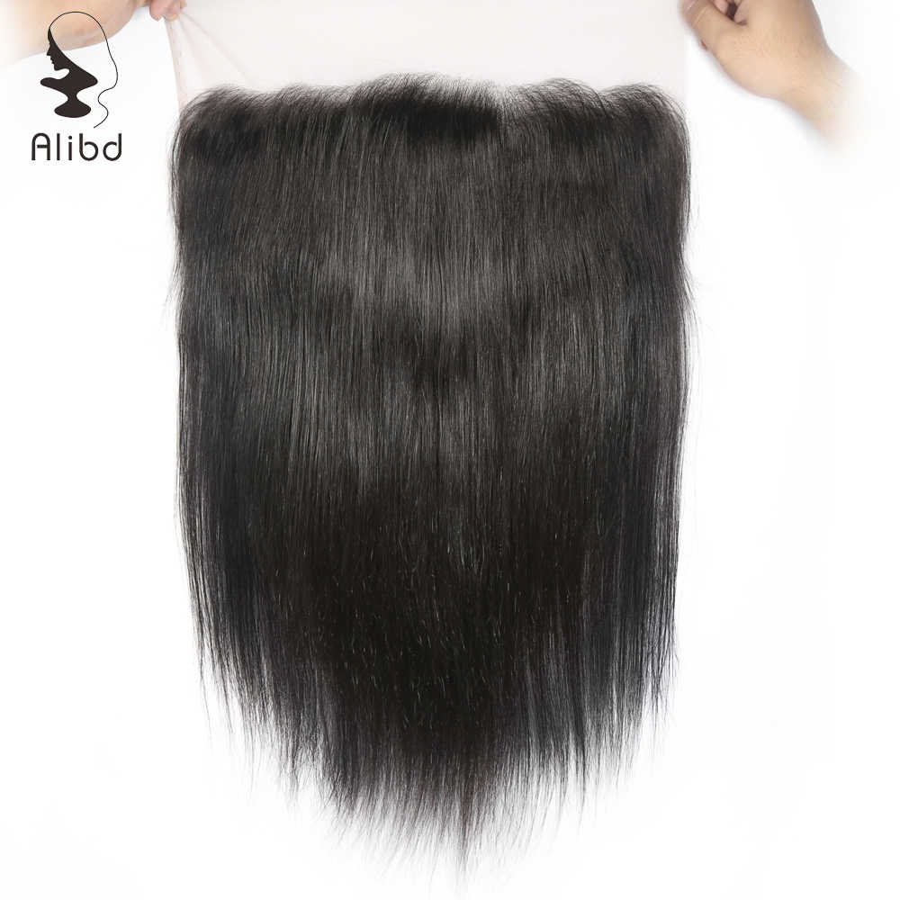 Alibd 13x6 Dantel Frontal Kapatma Brezilyalı düz insan saçı Ücretsiz Orta Üç Bölüm Doğal Renk Remy Saç Dantel Ön Kapatma