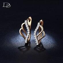 585 gold color earrings jewelry accessories shining Australian crystal earring women wedding decorations classic bijoux HHE023