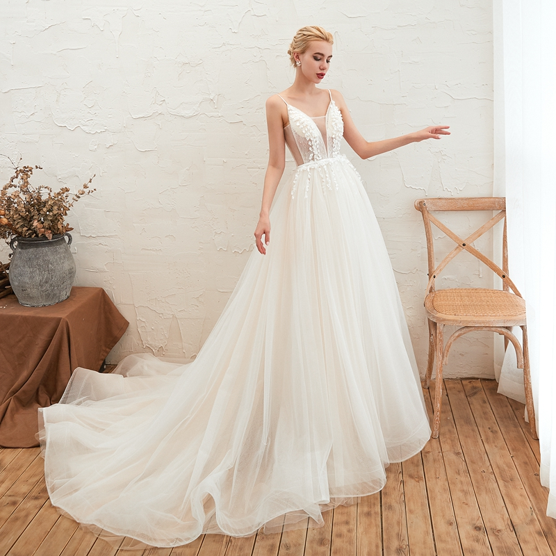 Floor Length Long Ivory White Plus Size A Line Wedding Dresses 2019 Deep V Neck Bridal Gown Appliques Illusion Vestidos De Noiva in Wedding Dresses from Weddings Events