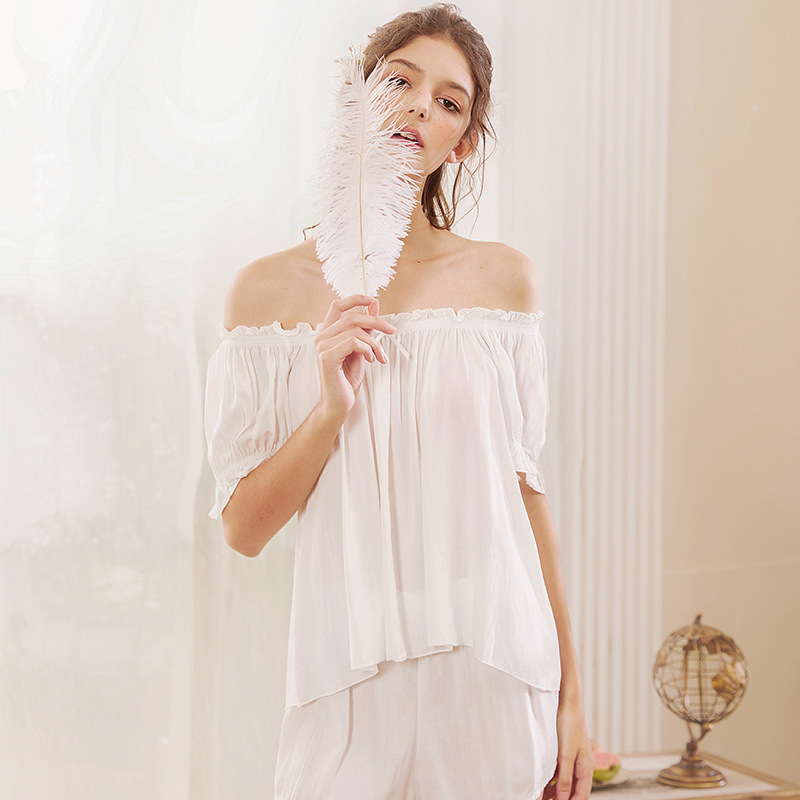 Roseheart Summer White Women Sleep Nightwear Suits Slash Neck Pajama Sets Sleepwear Printed Nightgown Faux Silk 2 Pieces Cotton in Pajama Sets from Underwear Sleepwears