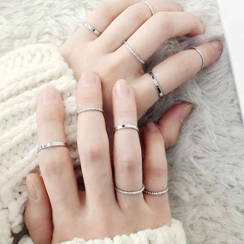 Bovvsky Fashion Simple Design Vintage Gold Silver Color Joint Rings Sets for Women Ten Sets Joint Ring Finger Jewelry 10pcs/set