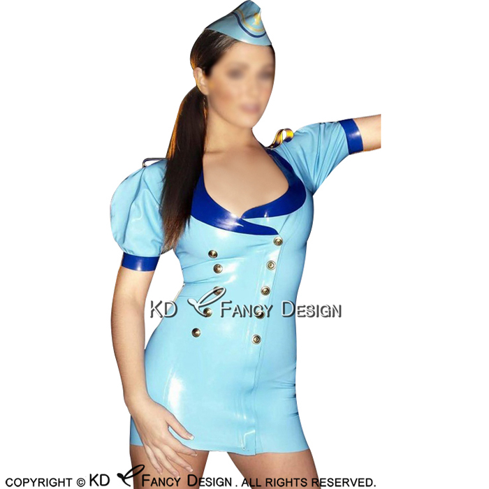 Lake Blue With Blue Trims Sexy Military Latex Dress With Head gear Buttons At Front Rubber Uniform LYQ-0119