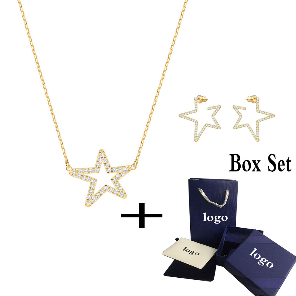 SWA RO Popular New 2019 Women ONLY Clavicle Necklace Set Shining Crystal Stars Give Lovers Romantic Jewelry Gifts Best ChoiceSWA RO Popular New 2019 Women ONLY Clavicle Necklace Set Shining Crystal Stars Give Lovers Romantic Jewelry Gifts Best Choice
