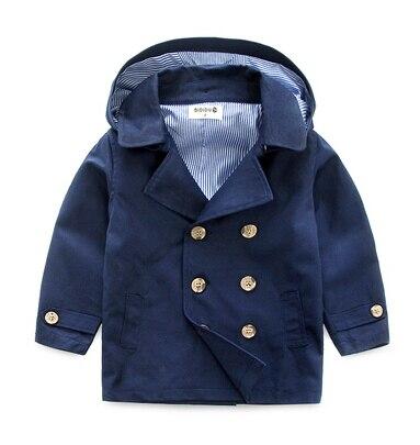Ребенок траншеи верхняя одежда осень 2016 девочка двубортный мужской ребенок ребенок с капюшоном пальто хаки небольшая детская одежда