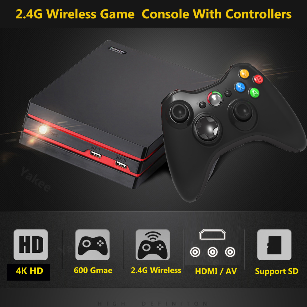 Newest Game Console Wireless Game Controllers Support 64bit HD 4K HDMI AV Videl 600 Classic Family game Console hdmi SD card цена