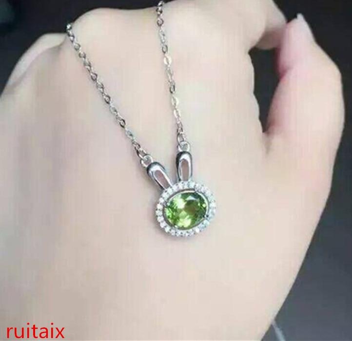 KJJEAXCMY boutique bijoux S925 pur argent incrusté naturel olivine pendentif incrusté bijoux de style féminin