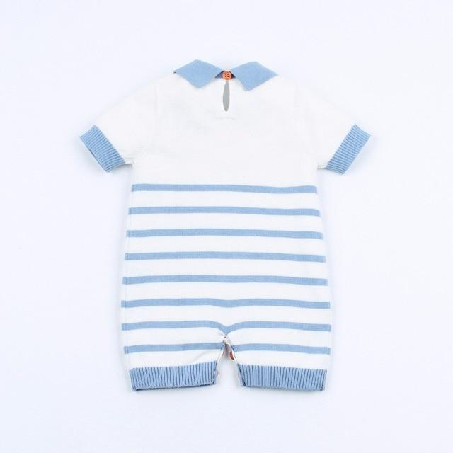 Salopettes dété en coton tricoté pour bébés | Salopette à rayures bleues, combinaisons en coton pour bébés garçons et filles, combinaisons une pièce pour enfants