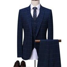 OSCN7 синий клетчатый портной костюм для мужчин 3 шт Джентльмен Бизнес Свадьба на заказ мужской костюм Блейзер на заказ 7137-09