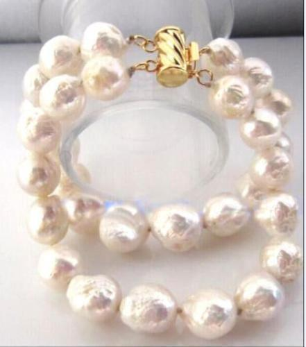 Gold Double strands 11-13mm natural south sea white pearl bracelet 7.5-8Gold Double strands 11-13mm natural south sea white pearl bracelet 7.5-8