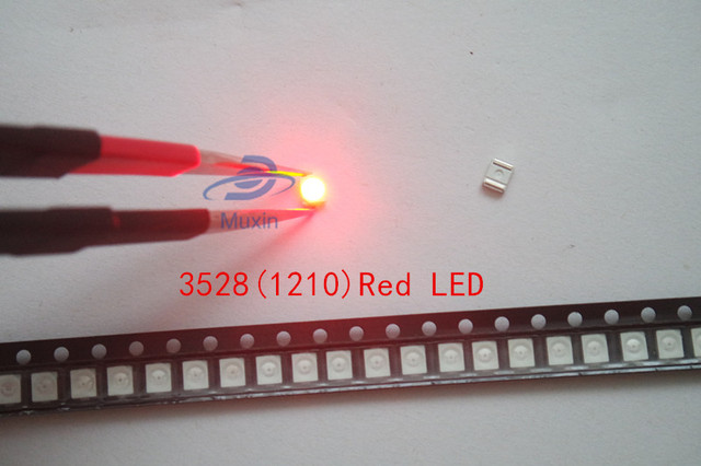 100pcs SMD Chip 3528 Red LED 20mA 2V plcc2 plcc4 Ultra Bright Light 3-4LM 1210 Surface Mount SMT Light-Emitting Diode Beads Lamp