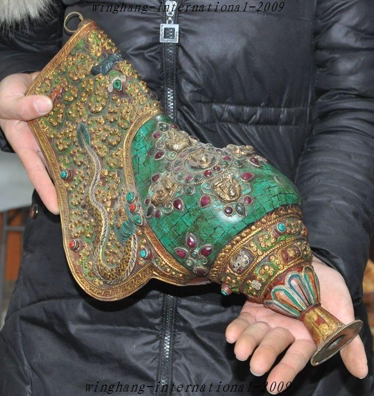 Di natale Vecchio Tibet Borsette Intarsio Bronzo Del Turchese Del Drago Buddha horn Bugle conchiglia Tromba di Halloween