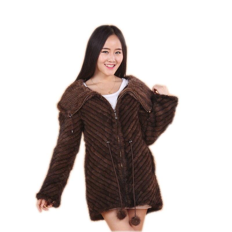 Роскошная женская шуба из натурального меха норки с рюшами, вязаная шуба из норки, куртки, верхняя одежда из натурального меха, длинное женс