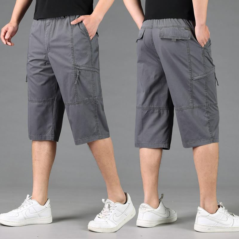 Men Loose Casual Shorts New Summer Large Size Short Pants Men Cotton Elastic Waist Tooling Shorts Size 6XL Cargo Short Pants