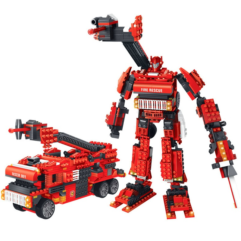 512pcs Movie Style Transformation Robot Two Models Firemen and Fire Truck Car Building Block Bricks Toys Children Birthday Gift jie star fire ladder truck 3 kinds deformations city fire series building block toys for children diy assembled block toy 22024