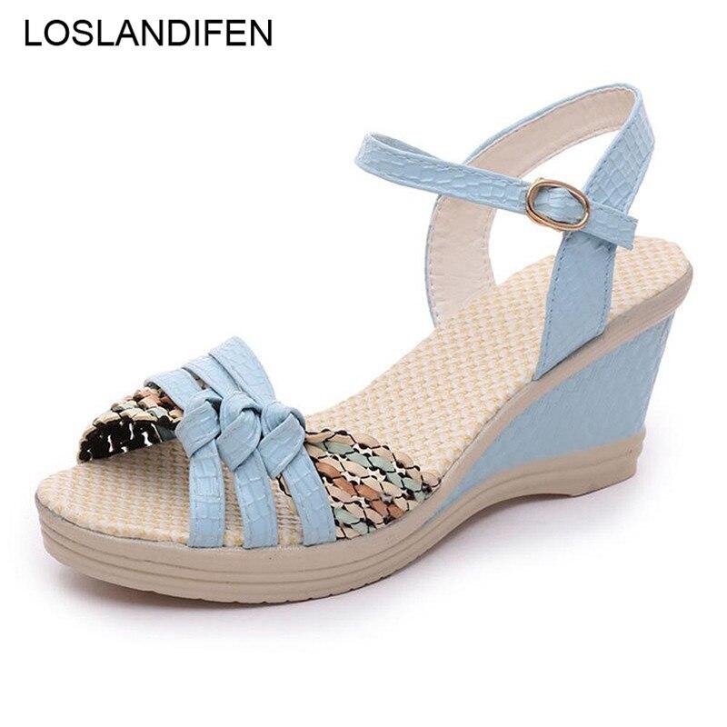 Korean-Shoes Footwear Wedges High-Platform-Sandals Peep-Toe High-Heels Fashion Summer