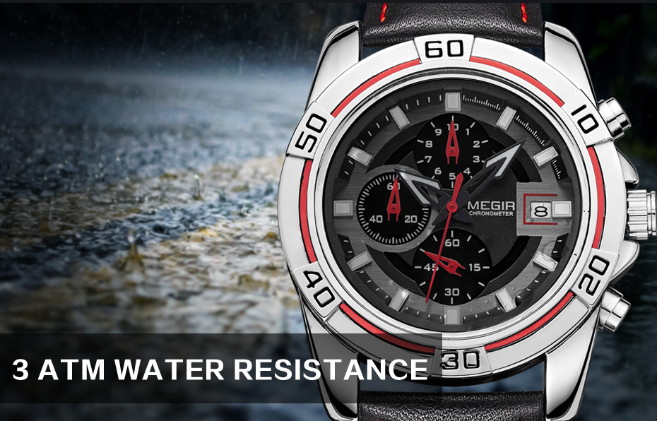 Topdudes.com - MEGIR Luxury Business Leather Strap Chronograph Quartz Wrist Watch