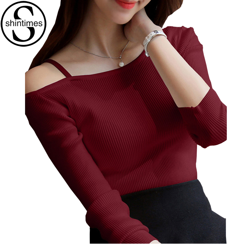 Off The Shoulder Tops For Women Tshirt Kawai Camisas Femininas 2018 T Shirt Knitted Cotton T