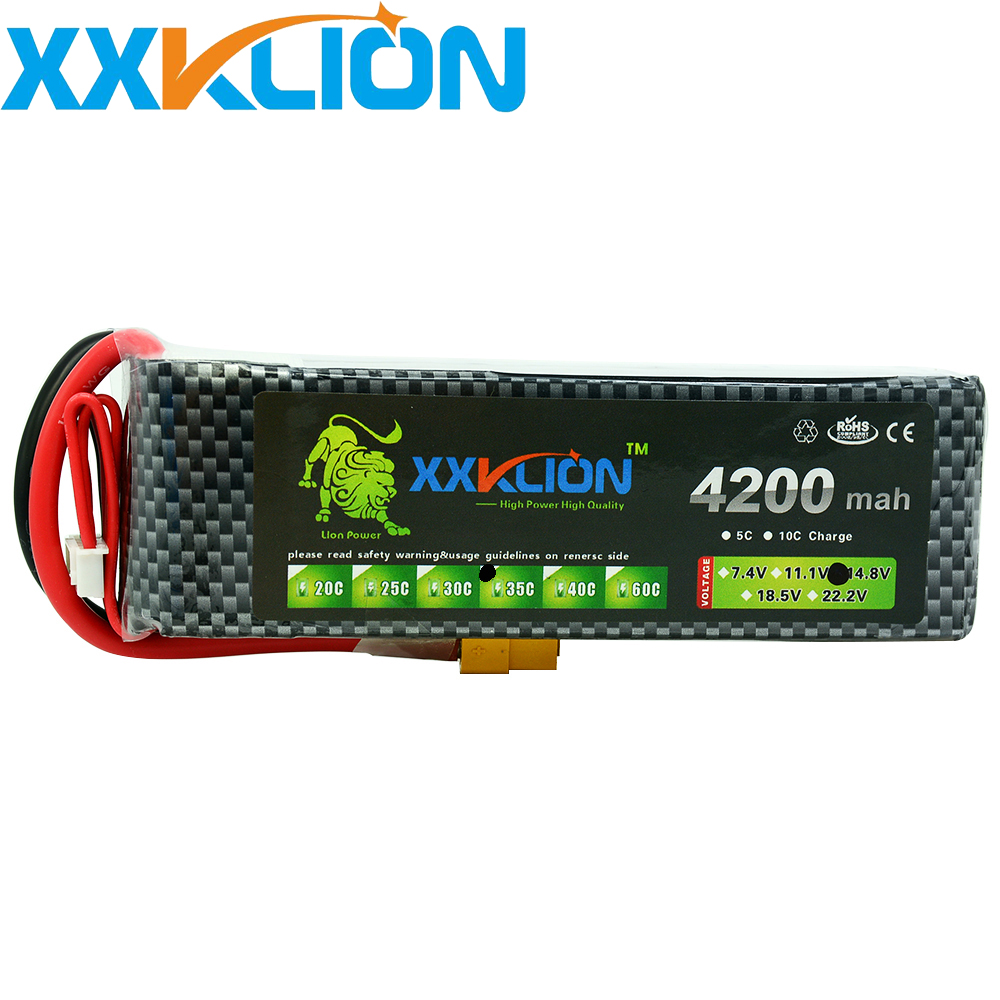 XXKLION 11.1V 4200mah 35C 3S Lipo Battery pack High Capacity Rechargeable For RC Car Helicopters RC Boats Battery Free Shipping image