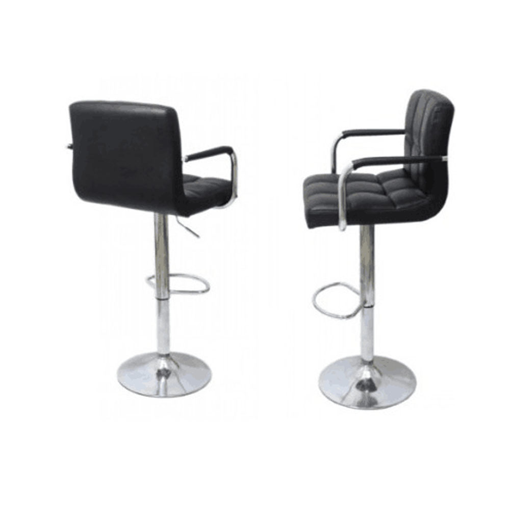 US Armrest Swivel Bar Stool 2pcs Faux Leather 6 Plaid Gas Lift Bar Chair Black With Footrest Modern  Dropshipping