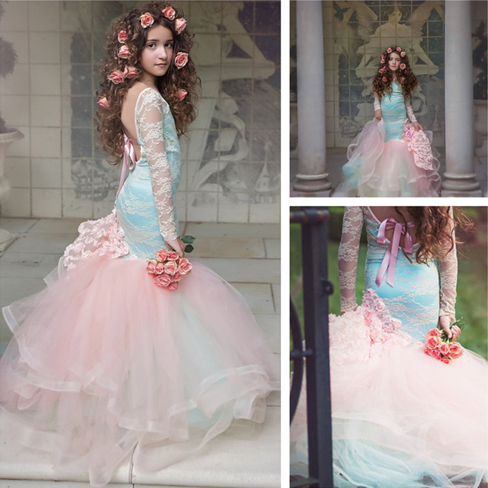 Mermaid Wedding Princess Party Girls Dresses 2018 High End